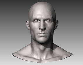 3D Realistic White Male Head
