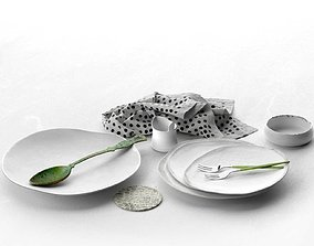 Plates Spoon Forks Bowl and Napkin 3D model