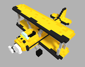 game-ready Voxel biplane Crop Duster Low-poly 3D model