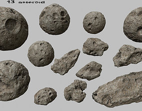 3D model VR / AR ready asteroid set