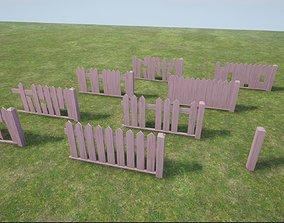 3D asset barrier Modular Wooden Fence