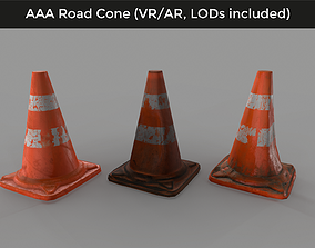 realtime Damaged Traffic Road Cone - 3D VR AR game