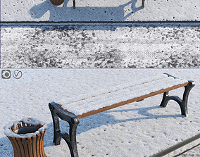 Snow Bench and Sidewalk with street 3D model