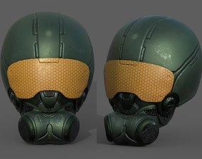 low-poly Helmet scifi soldier armor military combat 3d
