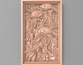 3D print model The fishes between seaweed bas relief for 1