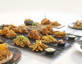 Fried chicken meal collection 3D