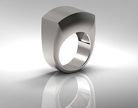 Masculine Silver Ring for MEN with Hollowed 3D print model