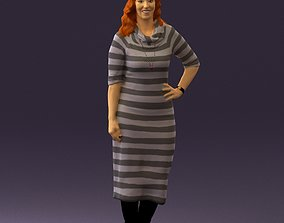 3D print model Woman in striped red hair 0576