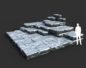 3D model Low poly Snow Ruin Medieval Construction 09