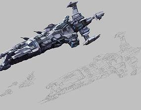 3D Battleship - medium ship 01