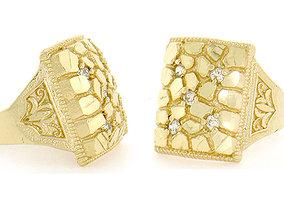 3D print model Gents Diamond Nugget Ring 22
