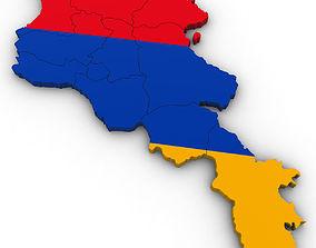 razorback 3d Political Map of Armenia
