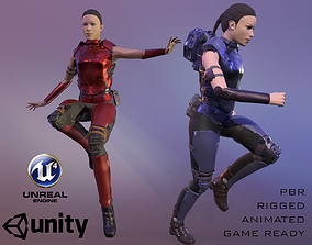 Sci-Fi Female Soldier 3D model animated