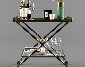 Bar Cart with Accessories 3D