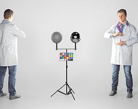Man in medical uniform is demonstrating 3D asset 1