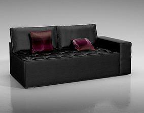 Modern Black Cushioned Love Seat 3D