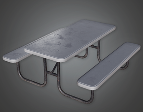 3D asset Outdoor Metal Picnic Table - CLA - PBR Game Ready