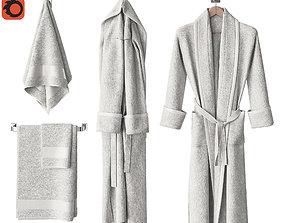 3D White bathrobe and towels