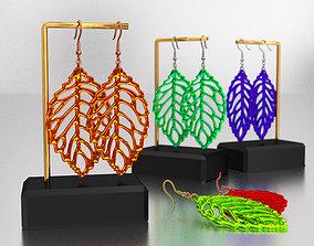 Hook earrings with plastic leaves 3D asset