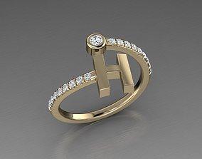 Jewelry Alphabet Diamond Ring H 3D printable model