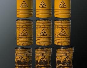 Toxic waste barrels 3D asset