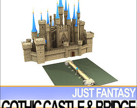 Gothic Castle and Gothic Bridge 3D model