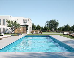 3D Exterior House Scene 6 - Pool Hotel