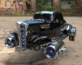 3D model Futuristic Retro Car Low Poly Game Ready