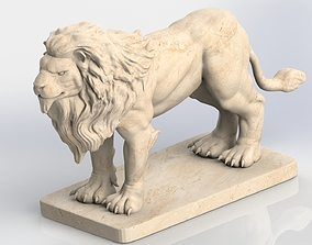 Lion Sculpture 3D model rigged