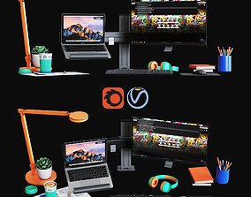 3D model Desktop Set Web Designer Edition