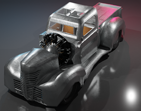 Airplane Engine Truck 3D model realtime