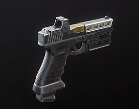 3D asset Glock 17 Custom Pistol with Attachments