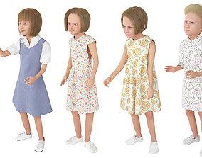 3D 4x Girls real cloth simulation conversation loop