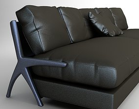 3D model Contemporary Black Leather Sofa