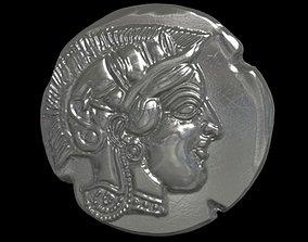 Athena coin 3D print model treasure