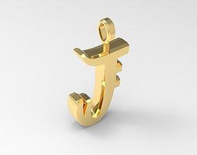 J Letter Pendant Gold 3D print model