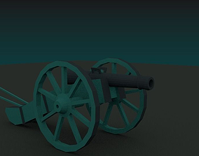 3D asset rigged Gribeauval canon napoleon cannon