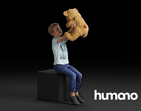3D Humano Sitting boy holding a taddy bear 0506