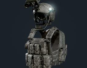 3D model Military Gear Equipment Vest and Helmet Game