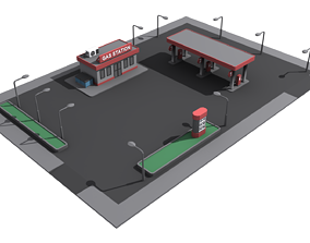 3D asset Gas station low poly