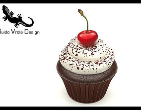 3D model Cupcake with chocolate and cherry