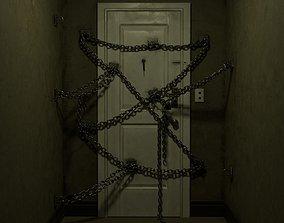 3D asset realtime Horror game door scene