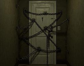 Horror game door scene 3D model