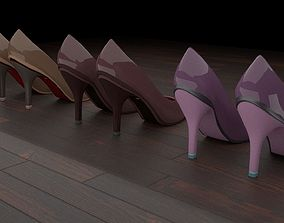 3D asset High heel women shoes 01