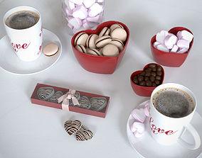 Romantic breakfast set 3D