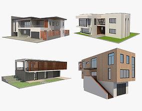3D model 4 Modern Houses Set 2