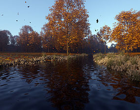 3D Detailed forest landscape with river