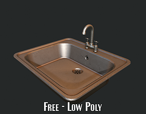 3D model low-poly Kitchen Sink