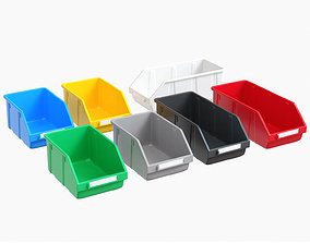 Ikea colored plastic boxes for parts 3D asset