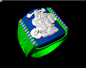 Ring of god of wealth - Ring of 3D printable model 2